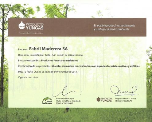 FM - Certificado Producto Yungas
